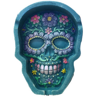 Poly Stone Foral Skull Ashtray 8 PC Display-0